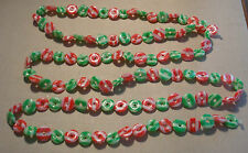 """Vintage Sugared Peppermints Plastic Christmas Tree Garland Red Green 9ft 4"""""""