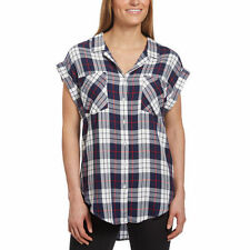 NEW Jachs Girlfriend Women's Cap Sleeve Button-Front Blouse Shirt Navy Plaid XXL