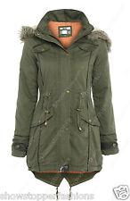 NEW Womens OVERSIZED HOOD PARKA Ladies JACKET COAT FISHTAIL Size 8 10 12 14 16