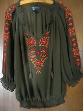 Elena Solano Embroidered Sheer Brown Peasant Blouse Tassel Tie Sz M