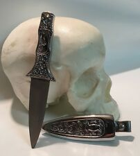 Boot Knife Engraved Metal Handle And Sheath