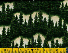 Riverwoods Forest Trees Evergreen on Cream cotton quilt fabric BTY