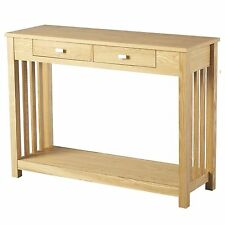 Seconique Ashmore Console Table with 2 Drawers - Slatted Design - Ash Veneer