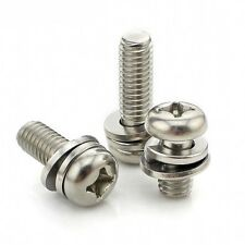 10PCS M3*25mm Round Head Phillips Screws+Flat/Spring Washer SEM 304 A2 Stainless