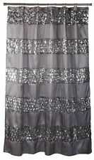 Shower Curtain Silver Gray Striped Sequin Sparkling Elegance Design 70 x 72 inch