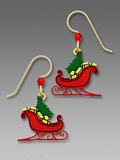 Red Christmas Sleigh with Tree and Gifts EARRINGS by Sienna Sky Gold Filled Box
