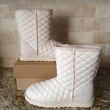 UGG CLASSIC SHORT QUILTED FRESH SNOW LEATHER SHEEPSKIN BOOTS US 8 WOMENS