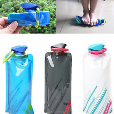 Sport Portable Foldable 700ml Water Bottle Bag Cup For Hiking Reusable BPA FREE