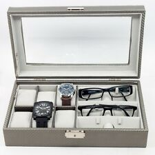 6 WATCH 3 EYEGLASS CARBON FIBER STORAGE DISPLAY GRID GLASSES CASE ORGANIZER BOX