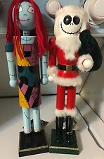 "Jack Skellington & Sally Nightmare Before Christmas Wooden Nutcrackers 15"" Nwt"