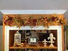 "FALL HARVEST HALLOWEEN FLORAL HYDRANGEA BERRY CHINESE LANTERNS GARLAND SWAG 54""L"