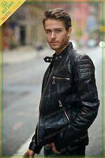 New Men's Genuine Lambskin Leather Black Slim fit Biker Motorcycle Jacket 01