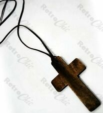 "32""long BIG BROWN WOOD CROSS NECKLACE pendant URBAN hippy RETRO wooden UNISEX"