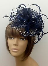 Stunning Bespoke Navy & Silver Hat Fascinator Wedding Mother Of The Bride Races