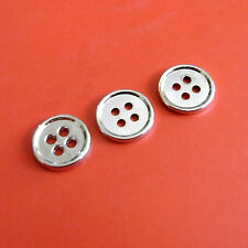 15 Metal Brass Plate Small Shirt Craft Sew On Buttons 11.5mm 18L Silver G217