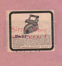 DRESDEN, Werbung 1908, Deutsche Glühstoff-Gesellschaft Dalli Bügeleisen