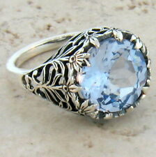 4.5 CT. SIM SKY BLUE TOPAZ ANTIQUE STYLE .925 STERLING SILVER RING SIZE 7, #372