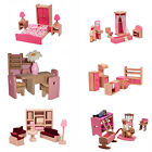 BNIB Mamakiddies Pink Wooden Doll House Furniture Set of 6 Rooms, 4 Family Dolls