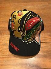 Vintage Chicago Blackhawks BIG LOGO Snapback Hat NHL Hockey The Game 90s RARE