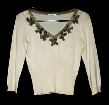 Moschino Pale Peach Wool Knit Sweater Top with Taupe Organza Bows size 8