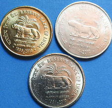 A   Rare Set of 3 Coins of RBI Platinum Jubilee Commemorate coin Rs. 5,2 & 1