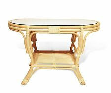 Pelangi Handmade Rattan Wicker Oval Coffee Table w/Glass Top  Colors, Country