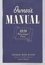 1939 CHEVROLET OWNERS MANUAL FOR GLOVE BOX    ALL MODELS
