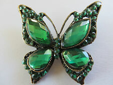 STUNNING DECO STYLE GREEN STONE SET ANTIQUED GOLD BUTTERFLY BROOCH new gift box
