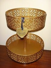Opulent Treasures Gold 2 Tier Cupcake / Cake / Bathroom Display Stand Holder