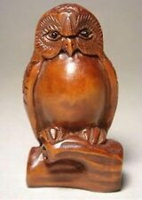 Japanese handicraft boxwood wood netsuke owl figurine