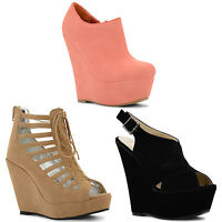 New Ladies High Wedge Heels Shoe Boots Peep Toe Sandals Shoes Sizes UK 3-8