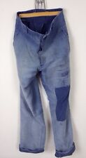 Vtg French Antique 30s Darned Patched Moleskin Chore Pants Trousers Hobo Peasant