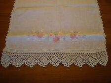Vintage XL linen table runner or dresser scarf, crochet, embroidery
