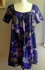 French Connection Purple Floral A-Line Shift Dress Sz 6 Mini Marimekko Inspired