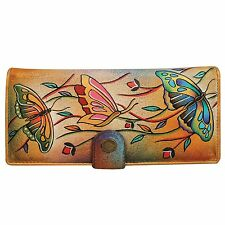 "Womens Anuschka Genuine Leather Hand Painted ""Angel Wings"" Design Wallet Purse"