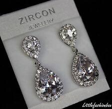 Shiny Teardrop CZ Cubic Zirconia Cluster Classic Anniversary Wedding Earring UK