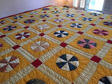 Fantastic Spinning Circles Quilt Antique Vintage 1930's Fabrics Cheddar Yellow