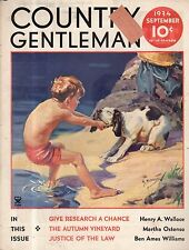 1934 Country Gentleman September cover - Dog doesn't want to go into the water.