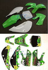 METAL MULISHA DECALS STICKER&PLASTIC FENDER KIT FOR KAWASAKI KLX110 KX65 U DE66+
