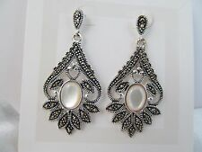 NWT SILVER & GENUINE MARCASITE & MOTHER OF PEARL ANTIQUE DESIGN DANGLE EARRINGS