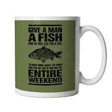 Give A Man A Fish Mug - Carp Fishing Angler Coarse Match Fly Sea - Dad Gift