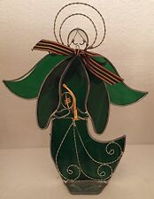 Large Dark Green or Forrest Green Stained Glass Angel with Candle