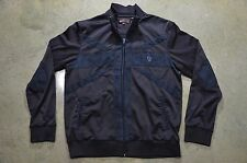 Ben Sherman XL Black Union Jack Polyester Vintage Retro Style UK Track Jacket