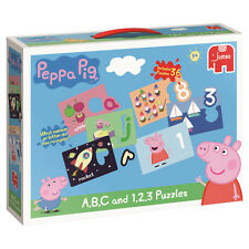 JUMBO 17948 PEPPA PIG - PEPPA PIG ABC AND 1,2,3 PUZZLES / JIGSAW BRAND NEW