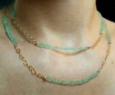 20ct Colombian Emerald 14k gold link chain 36 inch double wrap necklace bracelet