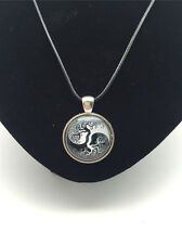 Vintage Ying yang Tree of Cabochon Glass Tibet Silver Pendant Leather Necklace#4