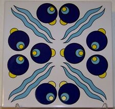 "CLEARANCE Blue & Yellow Cintemani 8""x8"" (20cmx20cm) Turkish Iznik Ceramic Tile"