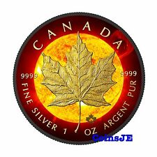 2015 1oz Canadian Maple Leaf Solar Flare .999 Silver Coin Ruthenium Gold Gilded