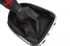 FITS SEAT LEON TOLEDO ALTEA 04-2010 LEATHER SHIFT BOOT RED STITCHING NEW
