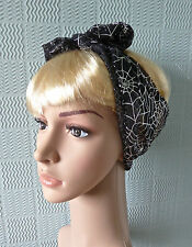 gothic rockabilly hair scarf headband bandana black lace  silver spiders webs